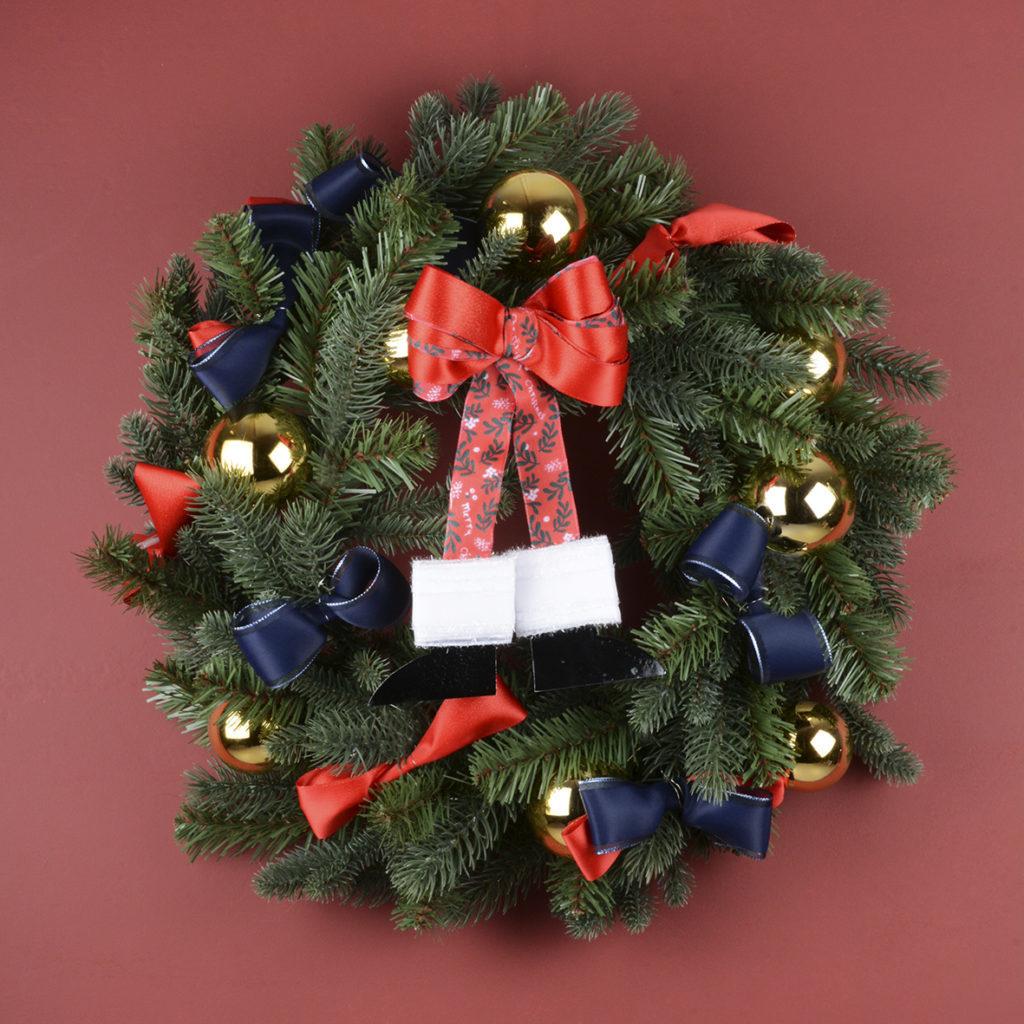 "Ref 3316 : satin lurex lisière coloré / Ref I658 : ruban laitonné ""Merry Xmas"" / Ref : 0449 : ruban ""Bright satin"""